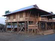Traditional housebuilding in Woloan near Tomohon